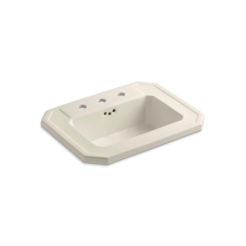 Kathryn Drop-In Ceramic Bathroom Sink in Almond with Overflow Drain