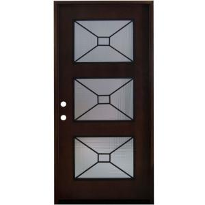 36 in. x 80 in. Modern Iron Grille 3 Lite Stained Mahogany Wood Prehung  sc 1 st  Home Depot & Steves \u0026 Sons 36 in. x 80 in. Modern Iron Grille 3 Lite Stained ...