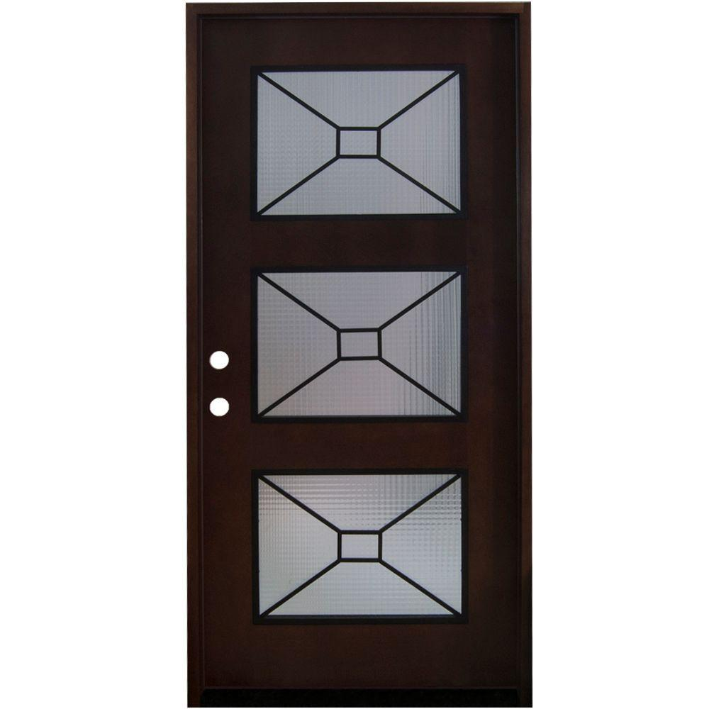 36 in. x 80 in. Modern Iron Grille 3 Lite Stained