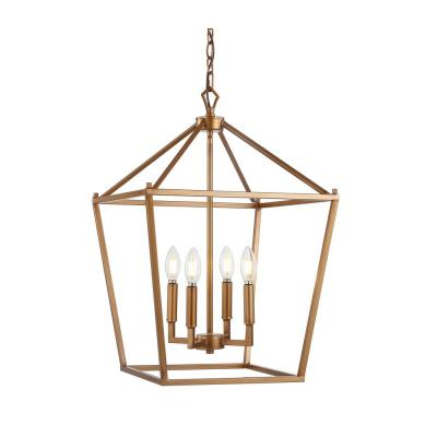 Pagoda 16 in. 4-Bulb Antique Gold Lantern Metal LED Pendant