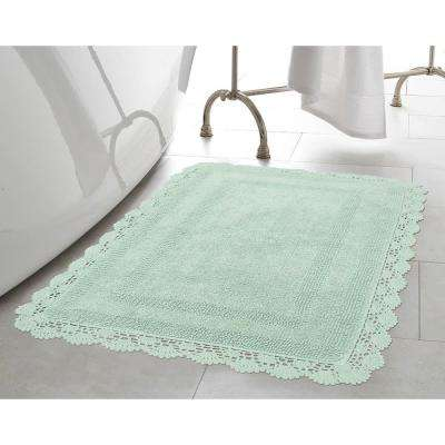 Crochet 100% Cotton 17 in. x 24 in. Bath Rug in Aqua