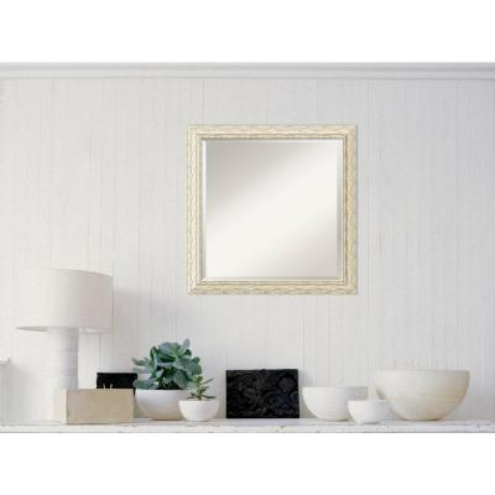 Medium Square White Wash Casual Mirror (23.5 in. H x 23.5 in. W)