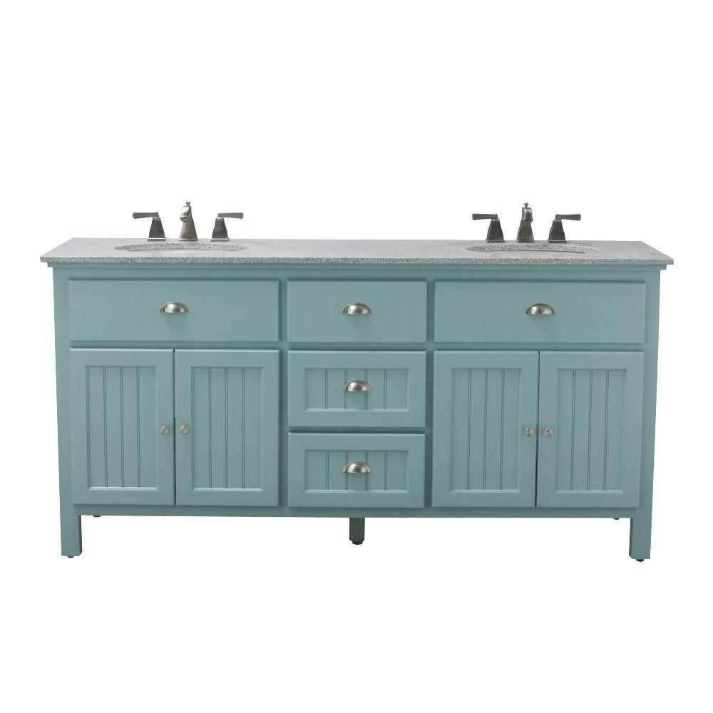 Home Decorators Collection Ridgemore 71 In W X 22 In D Double Bath Vanity In Sea Glass With