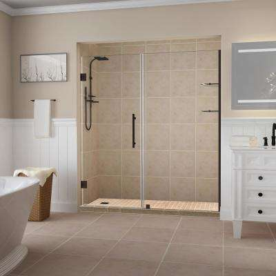 Belmore GS 73.25 in. to 74.25 in. x 72 in. Frameless Hinged Shower Door with Glass Shelves in Bronze