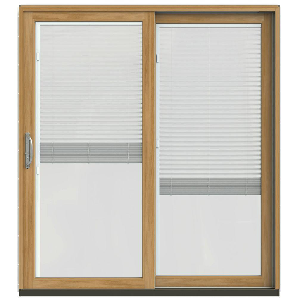 Jeld wen 72 in x 80 in w 2500 contemporary silver clad for Wooden sliding french doors