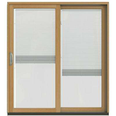 71-1/4 in. x 79-1/2 in. W-2500 Desert Sand Prehung Right-Hand Clad-Wood Sliding Patio Door with Blinds
