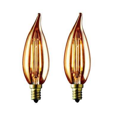 60W Equivalent Warm White CA10 Amber Lens Vintage Candelabra Flame Tip Dimmable LED Light Bulb (2-Pack)
