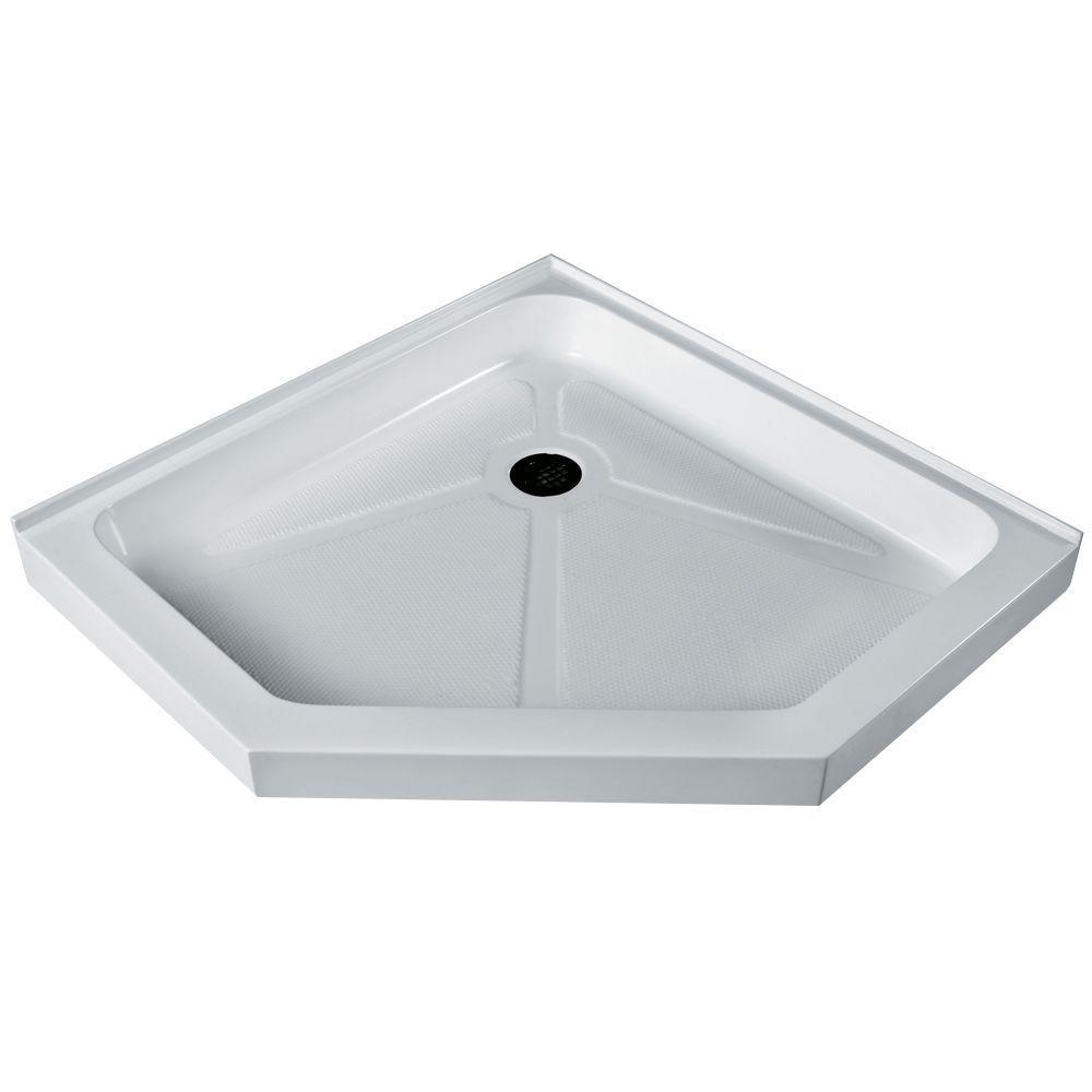 VIGO 40 in. x 40 in. Neo Angle Single Threshold Shower Tray in White