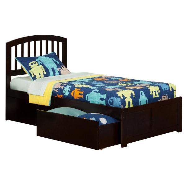 Atlantic Furniture Richmond Espresso Twin Xl Platform Bed With Flat Panel Foot Board And 2