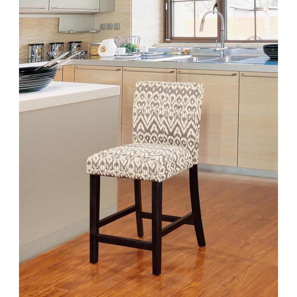 Linon Morocco 24 In Gray Cushioned Bar Stool 0225drif 01