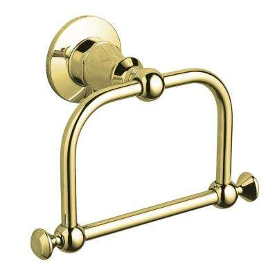 Antique Towel Ring in Vibrant Polished Brass