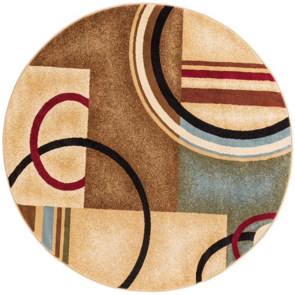 Well Woven Barclay Arcs and Shapes Ivory 5 ft. Modern Geometric Round Area Rug