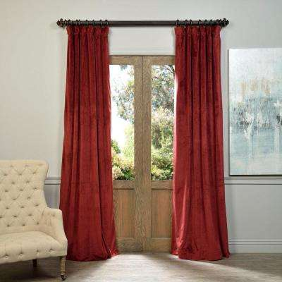 Blackout 50 in. W x 108 in. L Signature Burgundy Red Blackout Velvet Curtain (1 Panel)