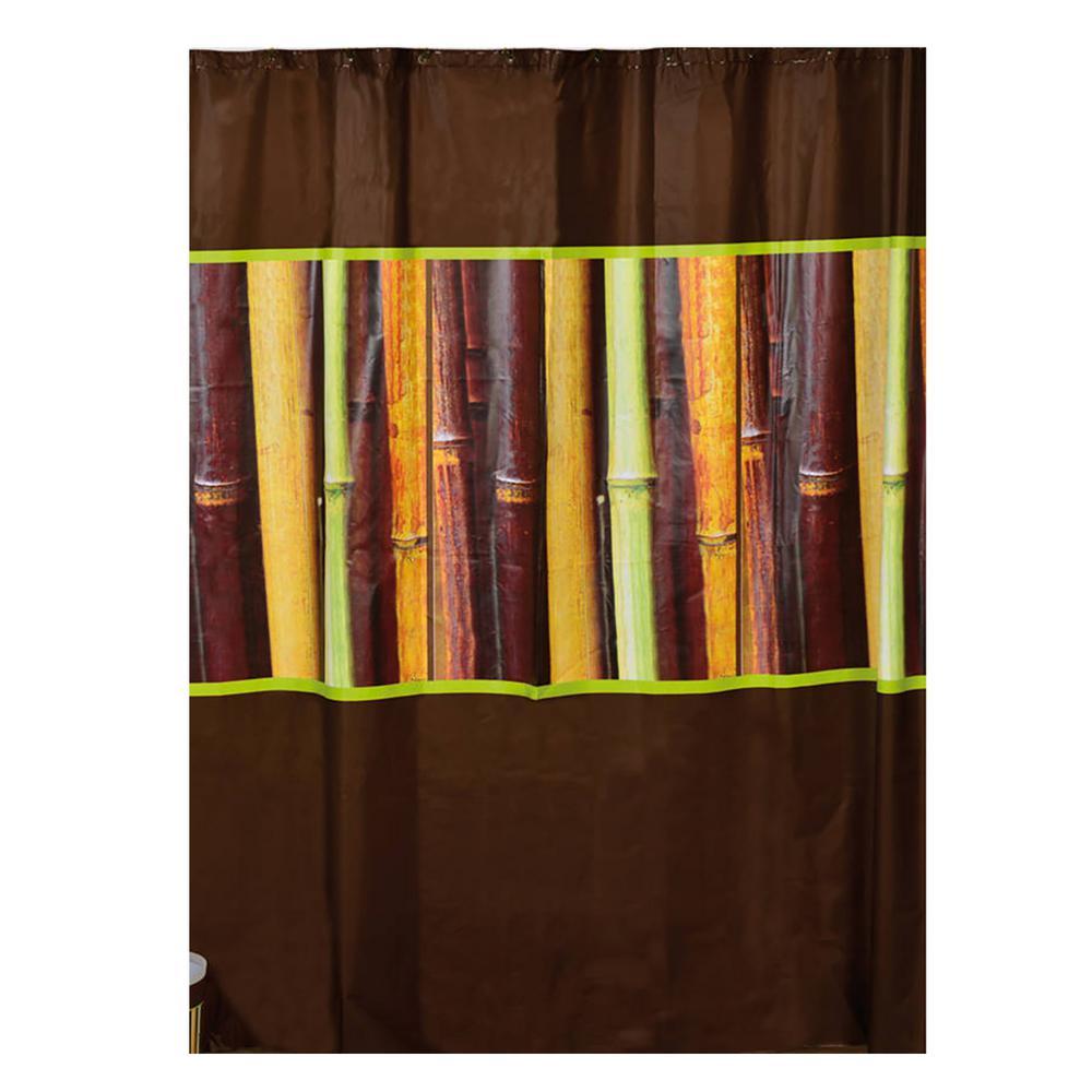 Evideco 71 in. x 71 in. Multi-Colored Java Bathroom Printed Peva Shower Curtain