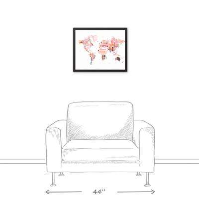 Framed Small Under In Pink Canvas Art Wall Art The - Small framed world map