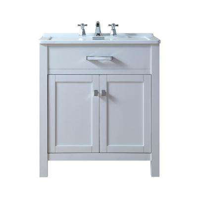 Radiant 30 in. Bath Vanity in White Finish with Acrylic Vanity Top in White with White Basin