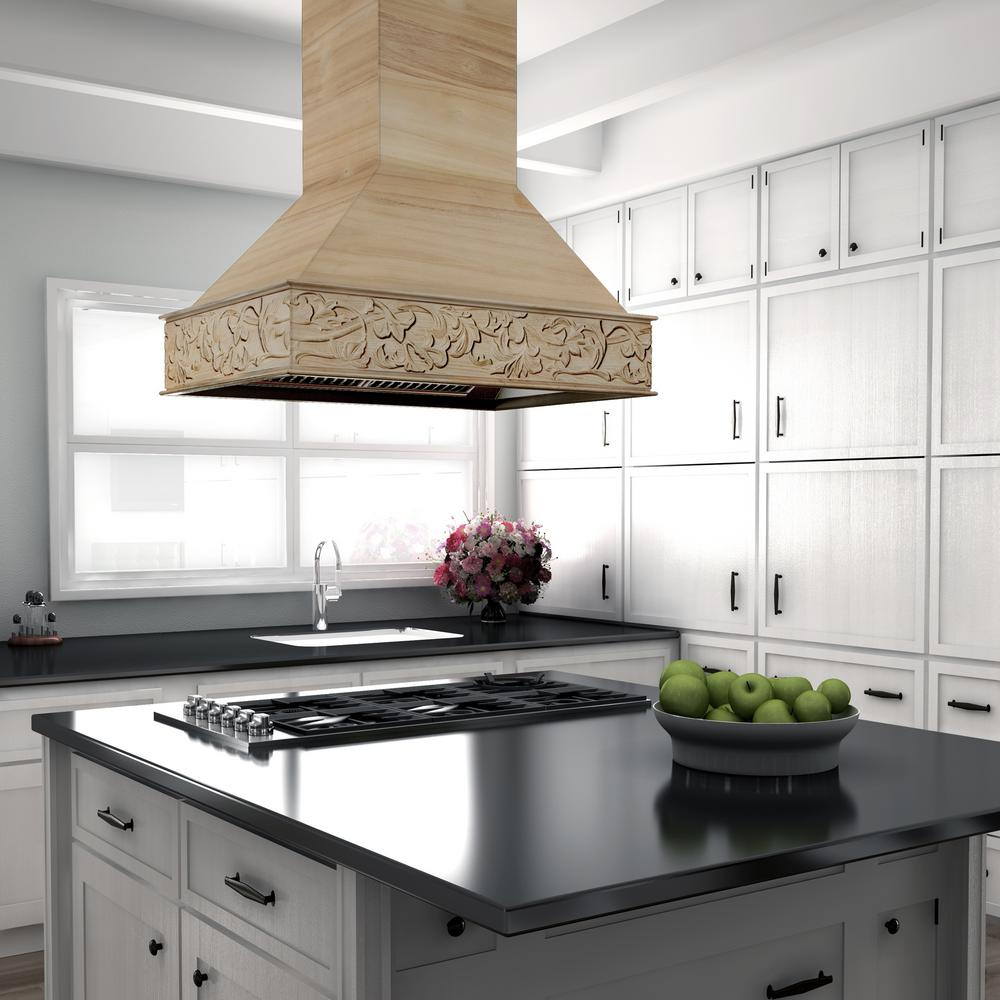 Zline Kitchen And Bath Zline 36 In Unfinished Wooden Island Mount Range Hood Includes Motor 9373uf 36 9373uf 36 The Home Depot