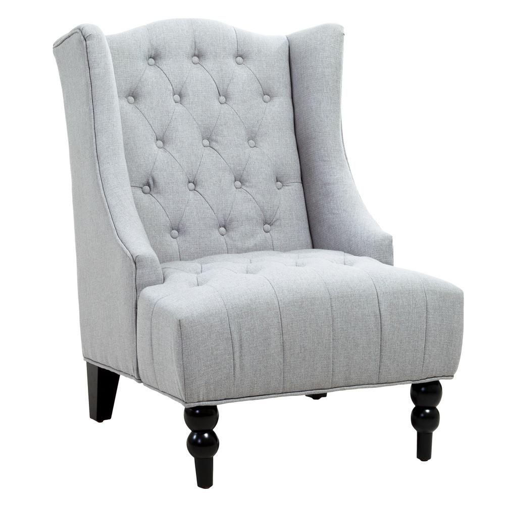 Noble house toddman silver fabric high back accent chair