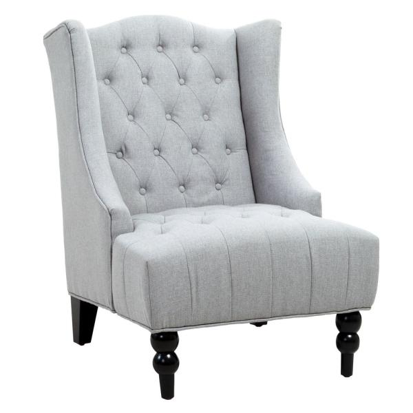 Toddman Silver Fabric High Back Accent Chair