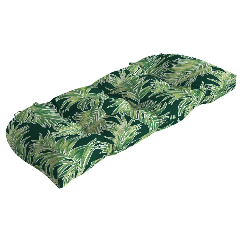 Arden Selections 41.5 in. x 18 in. Emerald Quintana Tropical Countoured Tufted Outdoor Bench Cushion