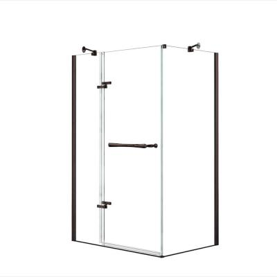 Reveal 33-7/8 in. x 48 in. x 71-1/2 in. Frameless Corner Pivot Shower Enclosure in Dark Bronze