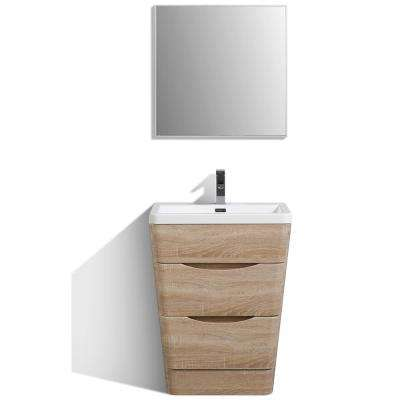 Victoria 25 in. W x 20 in. D x 34 in. H Vanity in White with Acrylic Top in White with White Basin