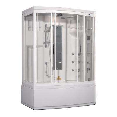 ZAA208 59 in. x 36 in. x 86 in. Steam Shower Right Hand Enclosure Kit with Whirlpool Bath in White