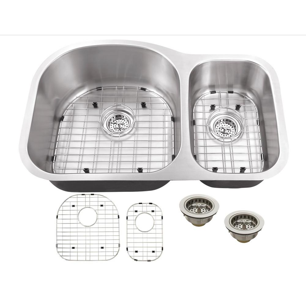 IPT Sink Company Undermount 32 in. 18-Gauge Stainless Steel Kitchen Sink in Brushed Stainless, Brushed Satin was $211.25 now $119.0 (44.0% off)
