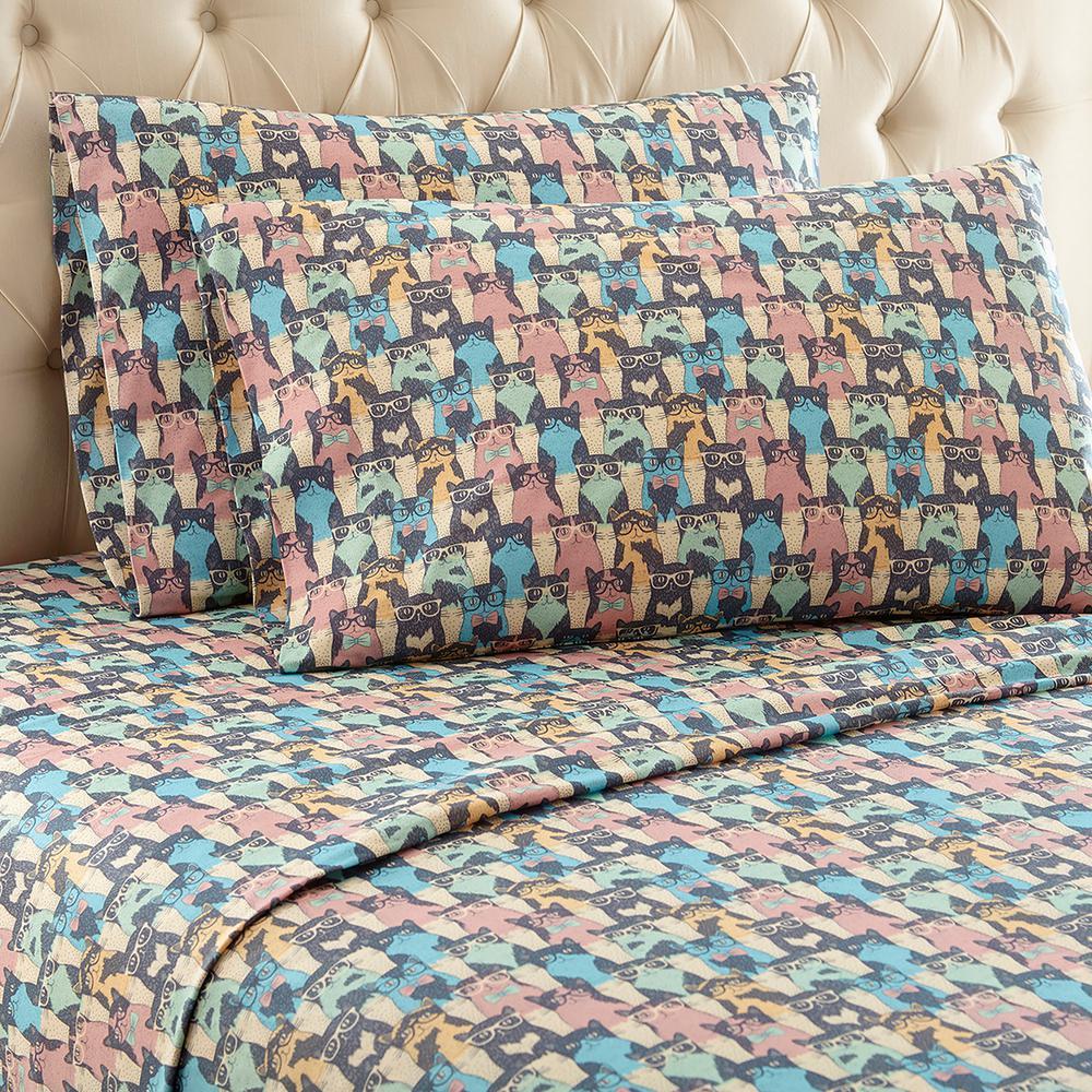 4-Piece Kool Kats Full Polyester Sheet Set