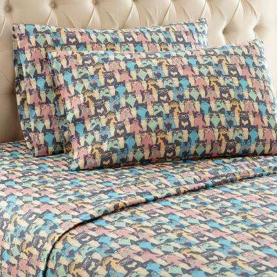 4-Piece Kool Kats King Polyester Sheet Set