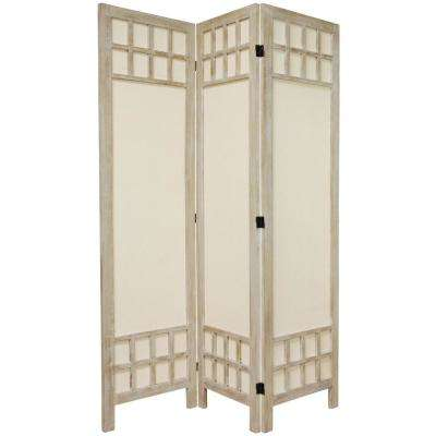 5.5 ft. Burnt White Muslin Window Pane 3-Panel Room Divider