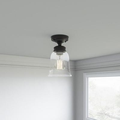 1-Light Oil Rubbed Bronze Vintage Bulb Semi-Flush Mount with Bell Shaped Clear Glass Shade