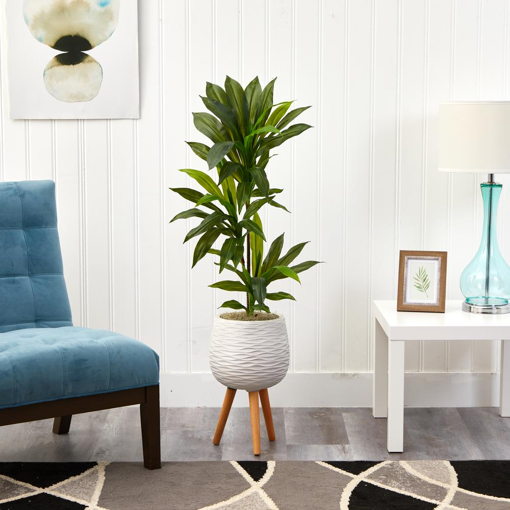 Nearly Natural 46 In Dracaena Artificial Plant In White Planter With Stand Real Touch P1379 The Home Depot