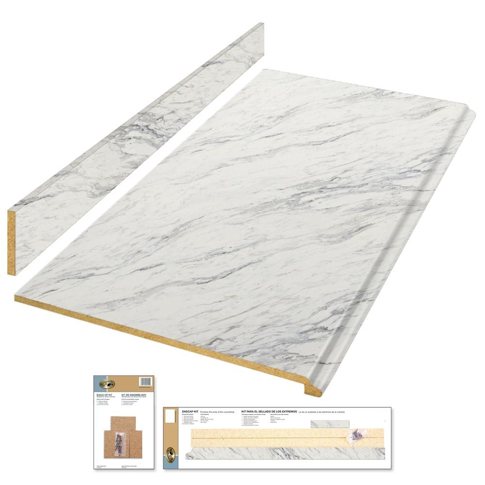 4 ft. Laminate Countertop Kit in Calcutta Marble with Premium Textured