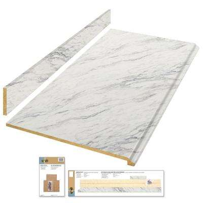 4 ft. Laminate Countertop Kit in Calcutta Marble with Premium Textured Gloss Finish and Valencia Edge