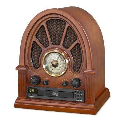Vintage Wooden Bluetooth Radio with CD Player in Mahogany