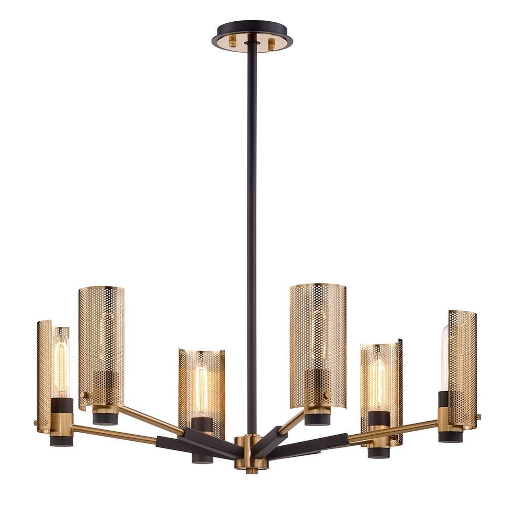 Pilsen 6-Light Modern Bronze And Aged Brass Chandelier with Plated Brass Shade