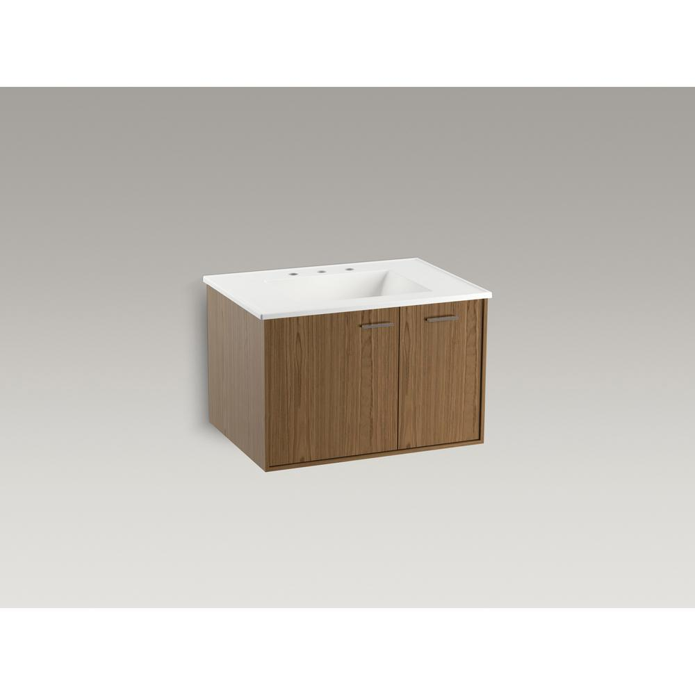 KOHLER Jute 30 in. W Wall-Hung Vanity Cabinet in Walnut Flax with Vitreous China Vanity Top in White Impressions with Basin