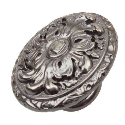 2 in. Dia Brushed Pewter Old World Ornate Oval Cabinet Knob (10-Pack)