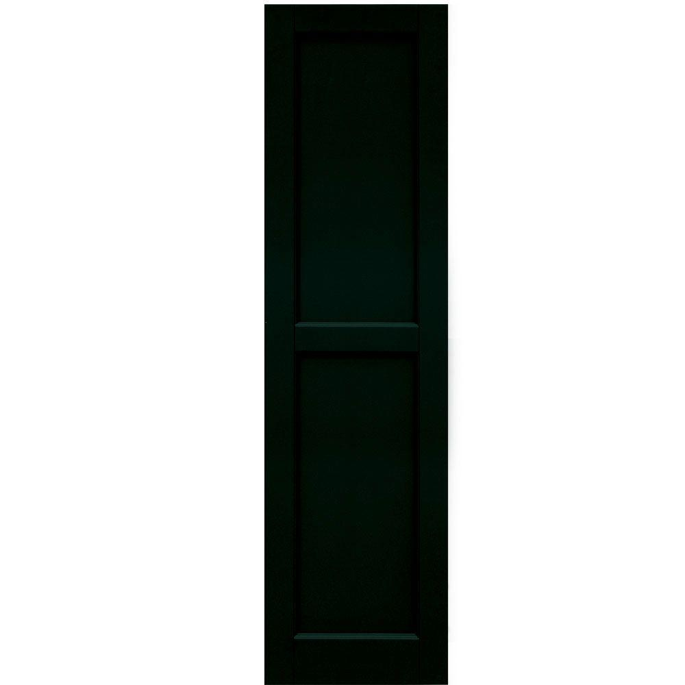 Winworks Wood Composite 15 in. x 56 in. Contemporary Flat Panel Shutters Pair #654 Rookwood Shutter Green