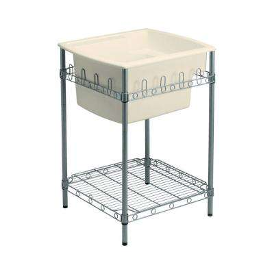 Latitude 22 in. x 25 in. Vikrell Self-Rimming Utility Sink in Biscuit