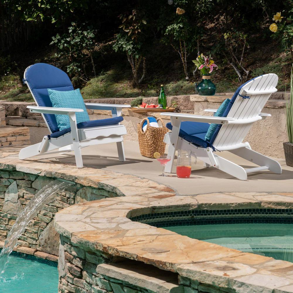 Malibu White Folding Wood Adirondack Chairs with Navy Blue Cushions (2-Pack)