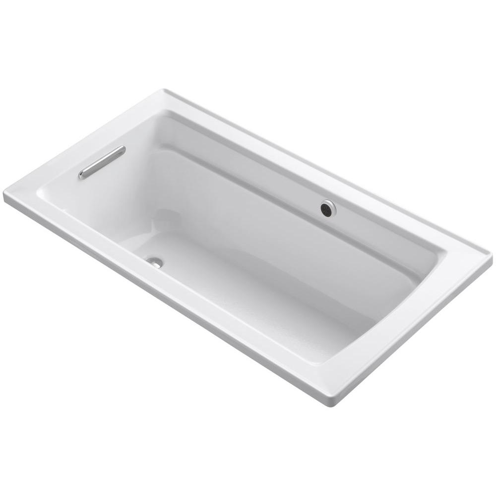 Archer 5 ft. Reversible Drain Soaking Tub in White with Bask