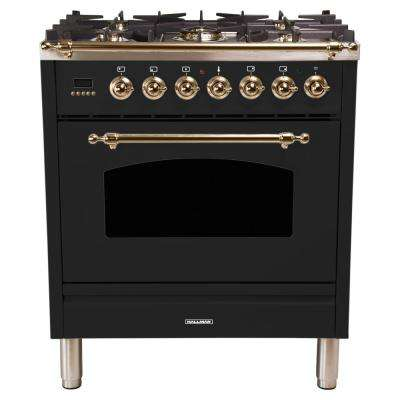 30 in. 3.0 cu. ft. Single Oven Dual Fuel Italian Range with True Convection, 5 Burners, Bronze Trim in Glossy Black