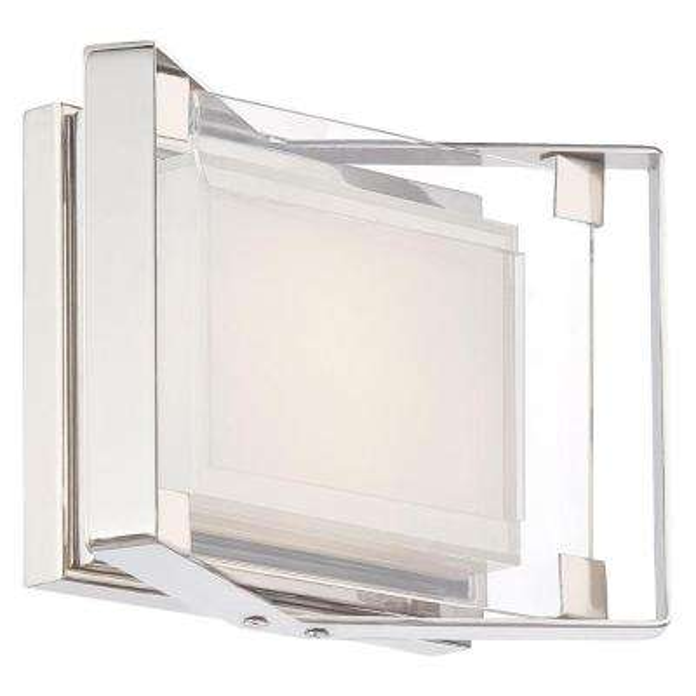 Crystal-Clear 11-Watt Polished Nickel Integrated LED Bath Light