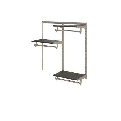 Closet Culture 16 in. D x 48 in. W x 48 in. H  with 3 Espresso Wood Shelves Steel Closet System