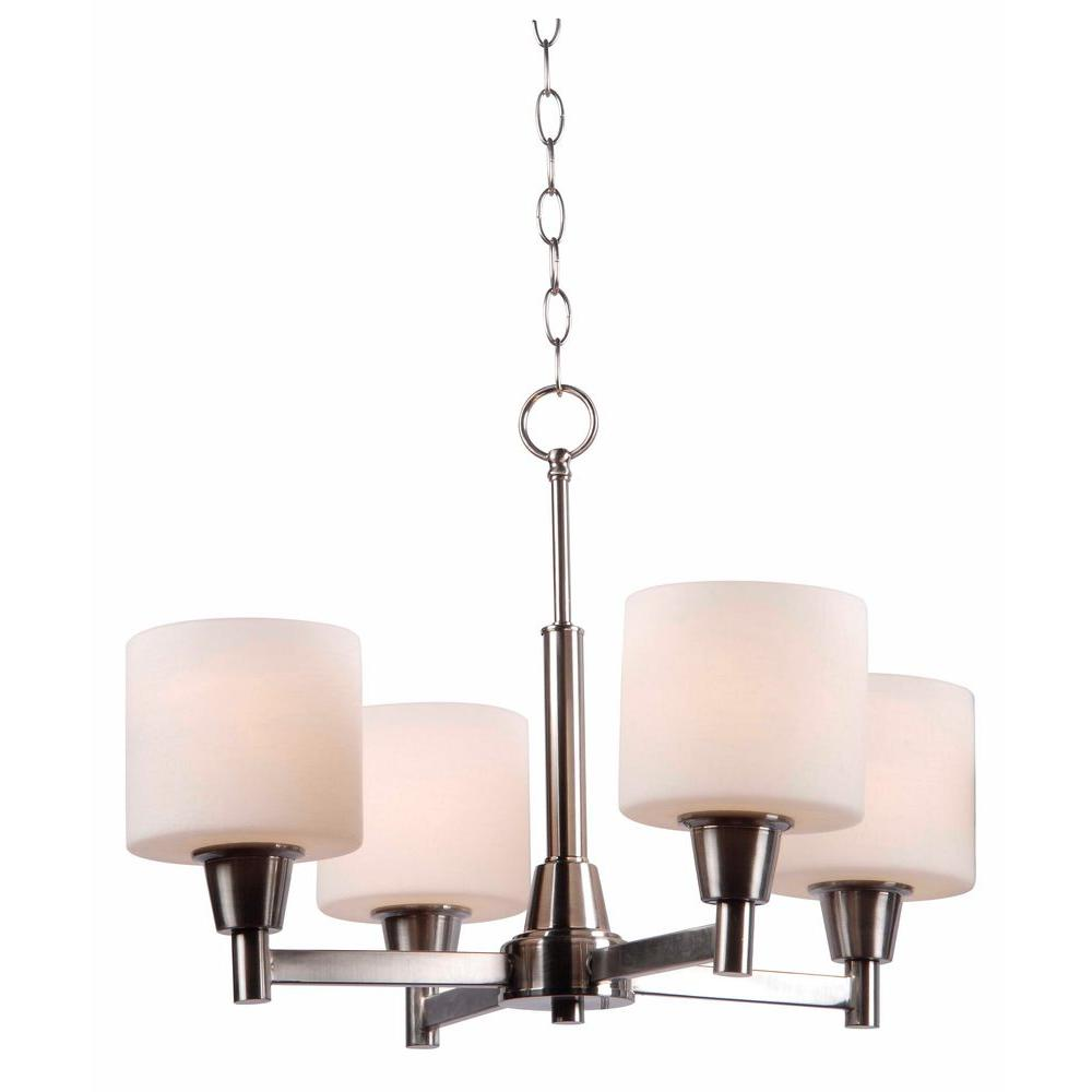 Hampton Bay Oron Light Brushed Steel Chandelier With White Glass - Brushed steel kitchen ceiling lights