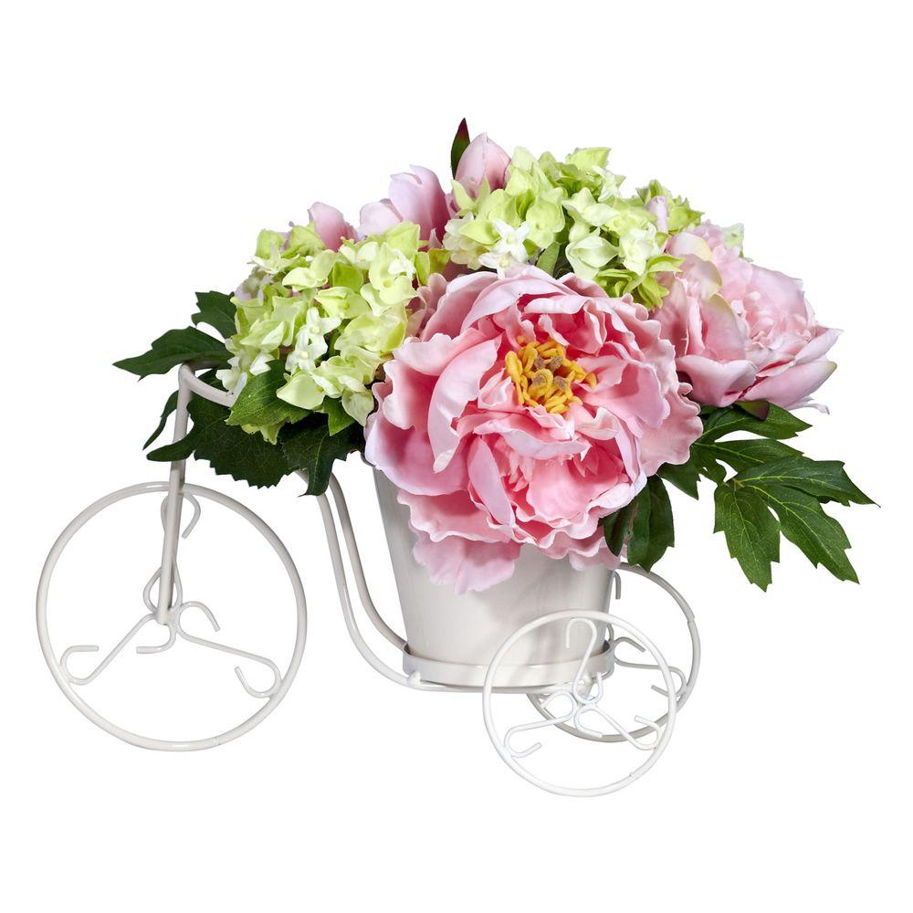 Nearly Natural 9.5 in. H Pink Peony and Hydrangea Tricycle Silk Flower Arrangement Nearly Natural 9.5 in. H Pink Peony and Hydrangea Tricycle Silk Flower Arrangement