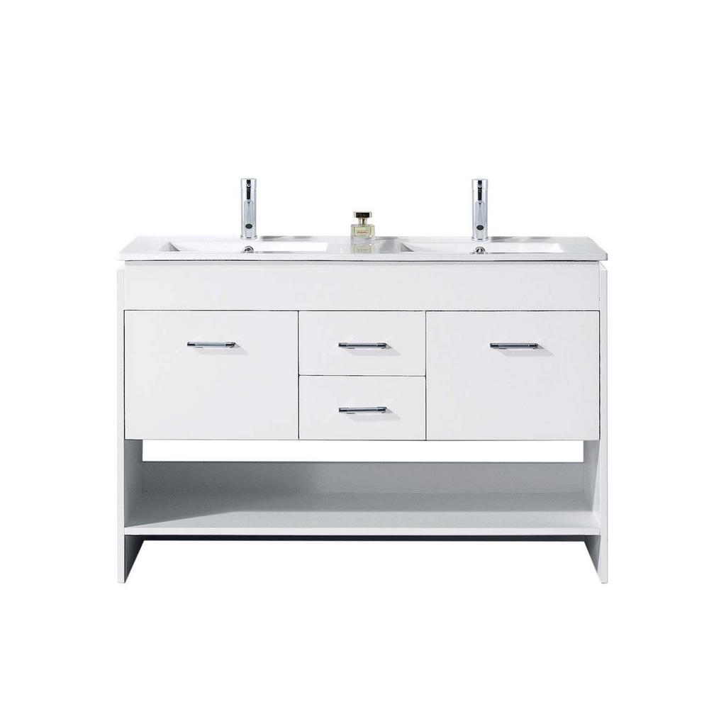 Virtu USA Gloria 48 in. W Bath Vanity in White with Ceramic Vanity Top in Slim White Ceramic with Square Basin and Faucet