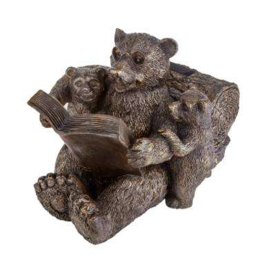 8.1 in. H Reading Bear Family Solar Statue